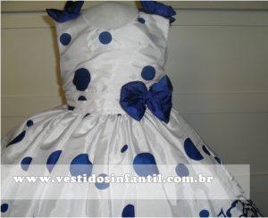 vestidos para meninas azul com branco