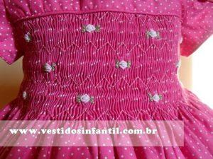 vestidos para meninas bordado rosa