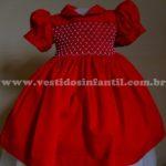 moda infantil vestido vermelho