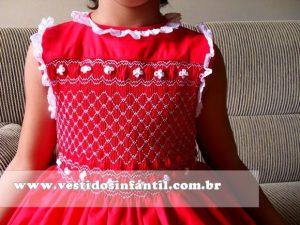 vestidos para meninas bordado vermelho