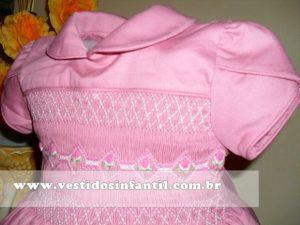 vestidos para meninas rosa bordado