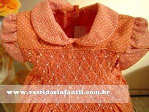 vestido social infantil laranja