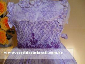 vestido social infantil lilas