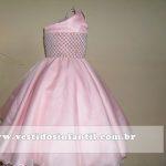 vestido infantil para aniversario de 1 ano rosa bebe