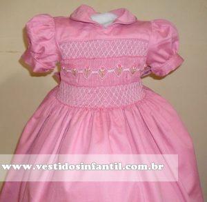 vestido infantil rosa bebe com bordado