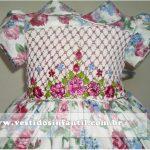 vestido infantil floral bordado