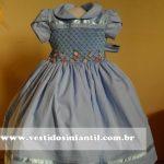 vestido infantil azul para festa de aniversario