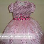 vestido infantil rosa com marrom para 1 ano
