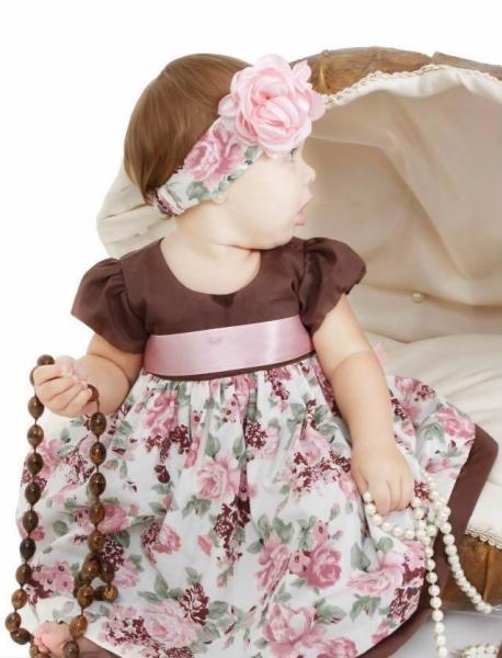 Vestidos infantil rosa e marrom