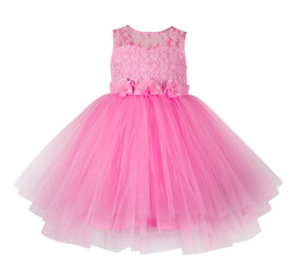Vestido rosa de meninas para casamentos