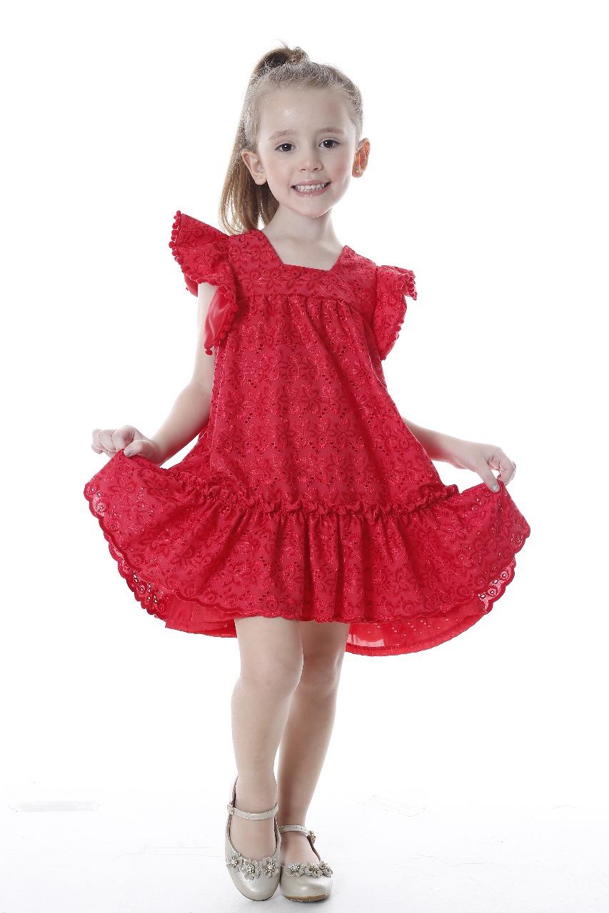 Vestido infantil de renda vermelho Ana Giovanna
