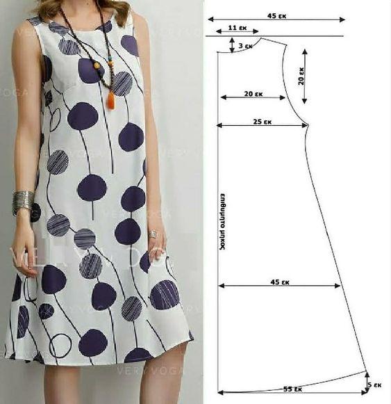 Molde de vestido simples para iniciante